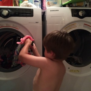 Three-Year-Old Helping with the Laudry