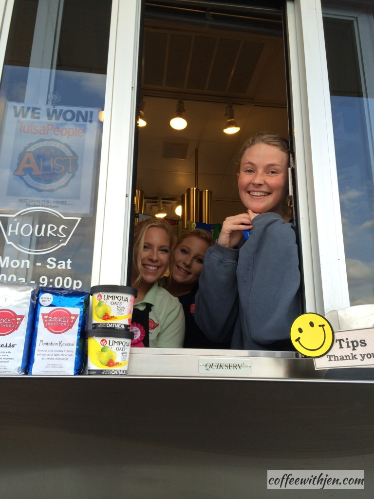 This is a locally owned dive-thru coffee shop.  These girls were so sweet!