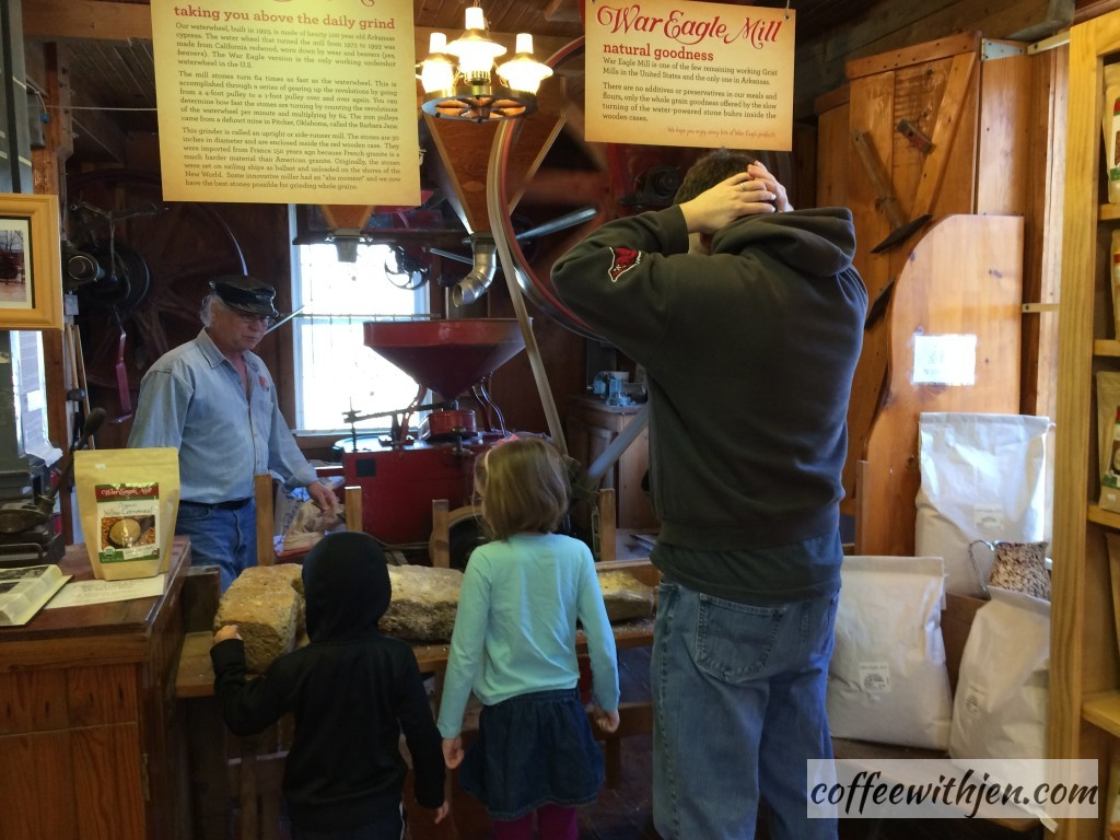 Learning about how the waterwheel powers the mill.