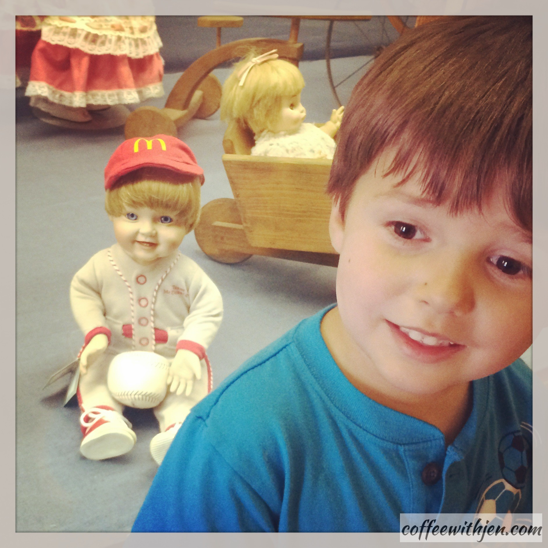 """This building was full of dolls throughout time.  My son loved this """"McDonald's-Baseball Doll"""".   I think he could be a doll model...but I am biased. :)"""