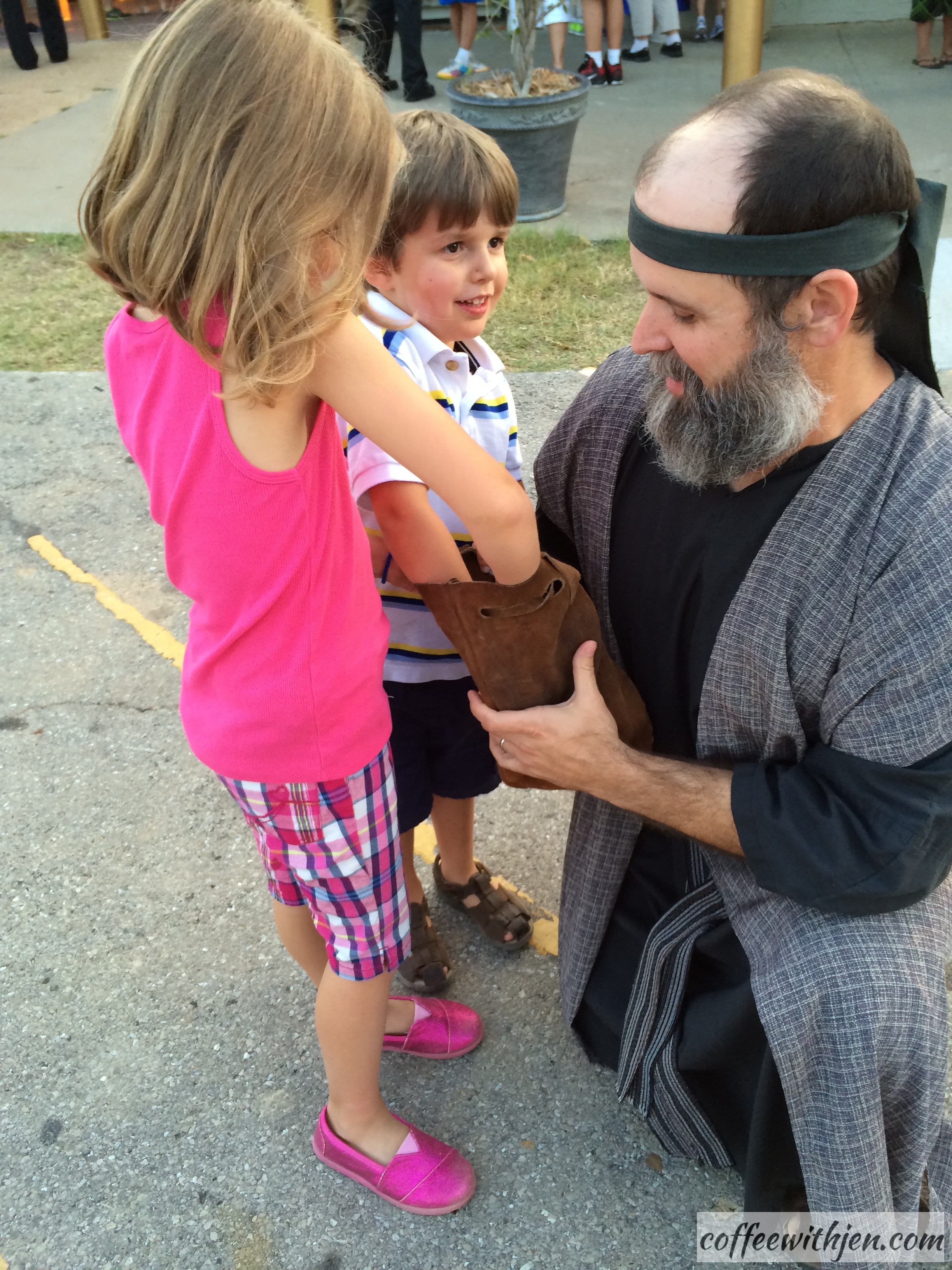 Meeting Judas before the play.  He gave the kids a piece of silver.